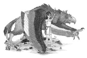 Gryphon and Child by J-Ian-Gordon