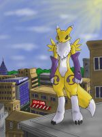 Renamon in the City by Cybron666