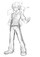 Ash and Pikachu :Commish Sketch: v2 by moxie2D