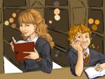 Hermione and Ron by hanime