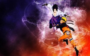 Naruto and Sasuke Wallpaper by Sanlea