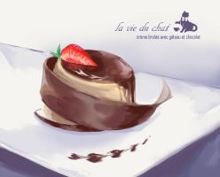 creme brulee with cake and chocolate by Nyanfood