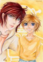 Father and Son: Ash and Kimihiro by Khallandra