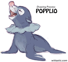 Drawing Process - Popplio by Mewitti