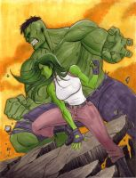 Hulk and She-Hulk by Protokitty