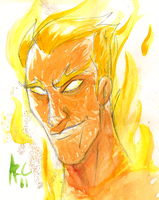 Watercolour Human Torch by WesleyRiot