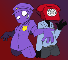 GIFT:Purple guy and Phone guy by Asagi-Samejima