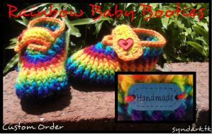 Rainbow Baby Booties by mascaraeyez
