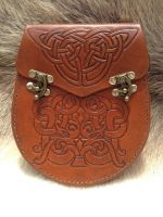 Hand Tooled Leather Sporran Celtic Knotwork Design by SonsOfPlunderLeather