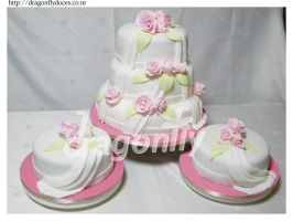 Roses Wedding Cake by dragonflydoces
