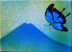 Blue FlutterBye over Mount Fuji 2 by mr-macd