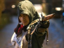 AC Unity Arno Dorian Cosplay Taking Aim by KrishnaDammertArt