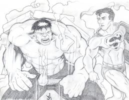 Pencil Battle/Hulk v. Supes by JOEYDES
