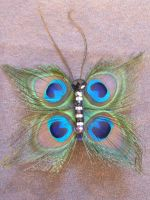 Peacock Feather Butterfly Hair Clip by AbsolutelyFascinated