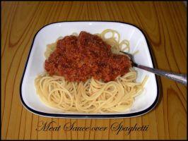 Meat Sauce over Spaghetti by HuoXingC