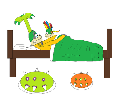 Iggy and Lemmy in a bed by dbott2000