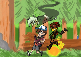 mystery kids - lost in the woods by stickynotelover