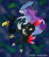 Sneasel, Murkrow and Suicune by cobaltdragon