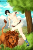 Amazing Phil and Lion! by Karmikosmic