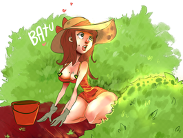 Cute Lady Gardening by temporaryWizard
