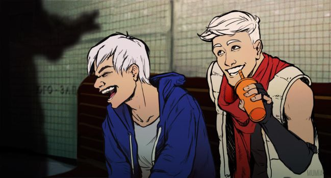 Sans and Papyrus in subway. Humanization by Mumium