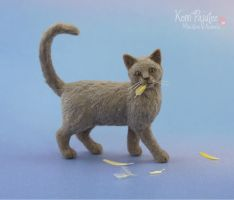 Miniature Cat that ate the Canary Sculpture by Pajutee