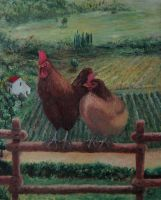 Mrs Hen and Mr Rooster (final rev.) by EugeneTheCounter