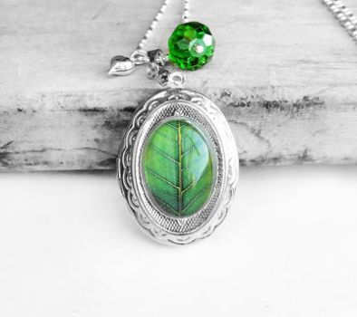 Green Leaf Oval Locket Sterling Silver Necklace by crystaland
