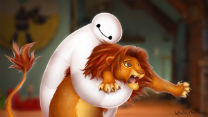 Baymax and Simba - Hairy baby! by KhaliaArt