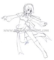 -lineart- Dancer Maid Ellie by zend