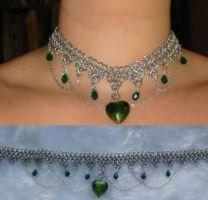 Green Heart Gothic choker by Nephri