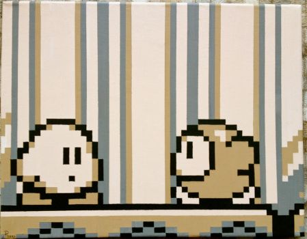 Kirby's Dream Land Pixel Painting by RubiksPhoenix
