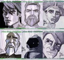 SW:CLONE WARS sketch cards by bigfanboy