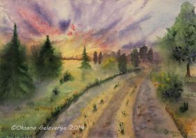 Foggy Sunset by Oksana007