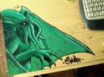 Cthulhu on Desk by PaperSaurus