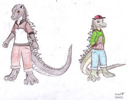Anthro Godzilla and Junior by Dinoboy134