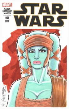 Aayla Secura Bust Sketch Cover by BillMcKay