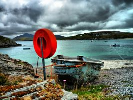 Talmine Beach Lifebuoy -  Boat by derekbeattieimages