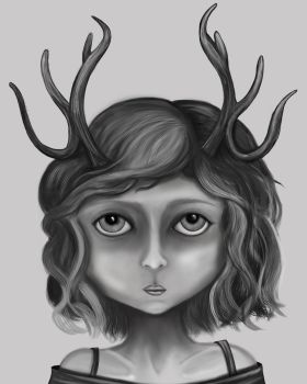 Little Fawn Black and White Version by TalesandFire
