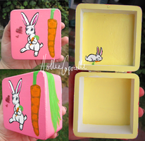 Pink bunny box by HollieBollie