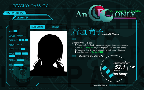 Psycho-Pass - Character Profile Template (GIMP) by CriAzuDre
