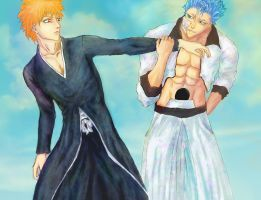 Bleach: Ultimate fighting (Ichigo and Grimmjow) by iris-M