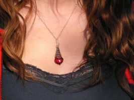 Ruby Red Baroque Necklace in Sterling Wrap by artistiquejewelry