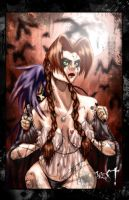 Luis Royo type goth girl meets Russ Meyer colored! by westwolf270
