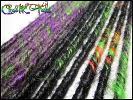 Halloween Inspired Splash Synthetic Dreads by ChaotikFalls