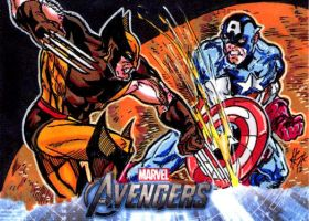 Avengers Cards: Wolverine vs Cap by ElvinHernandez