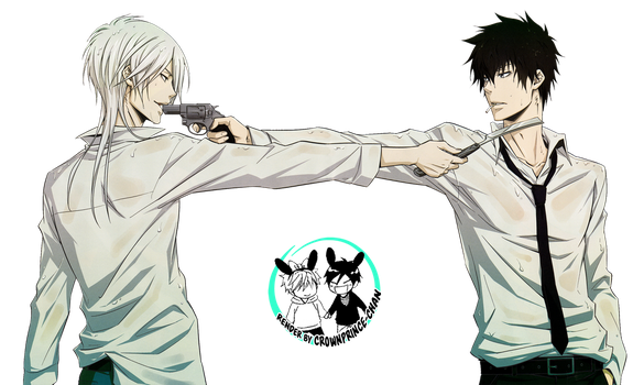 [RENDER] Makishima and Kougami (Psycho-Pass) by crownprince-chan