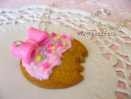 Kawaii frosted cookie with bow necklace by virahandmade