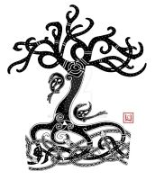 Yggdrasil Mammen-style tattoo commission by one-rook