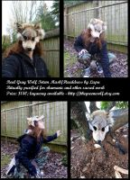 Real gray wolf fur totem mask headdress by lupagreenwolf
